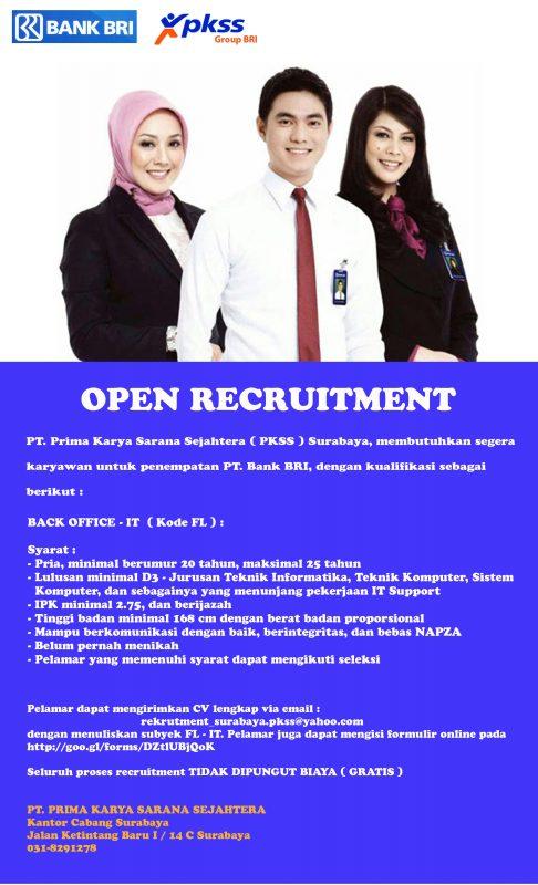 Lowongan Back Office – IT PT. Bank BRI – STT Atlas Nusantara